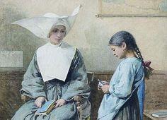 """""""La leçon"""". Louis-Emile Adan (1839 – 1937), French painter."""