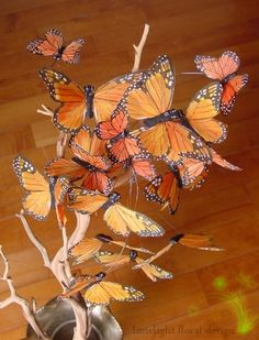 Butterfly Wedding Theme Style Decoration Ideas ~ Butterfly Wedding Centrepiece ~ More Ideas and products at Wedding Dcor Direct ~ www. Butterfly Centerpieces, Non Floral Centerpieces, Butterfly Decorations, Butterfly Crafts, Monarch Butterfly, Handmade Decorations, Wedding Centerpieces, Butterfly Tree, Centrepieces