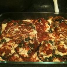 Cheesy Baked Eggplant- just use low fat cheeses and no sugar sauce