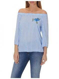 Betty Barclay  stripes  off-the-shoulder blouse  feminine  viscose 744ce12379c25