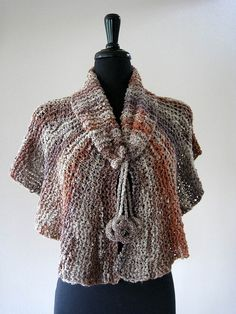Light Brown Gray Taupe Color Handknitted Capelet Poncho Wrap Collar with Crocheted Rings by Knitsome Studio