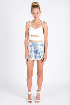 High wasted peplum shorts with water mark print | USTrendy