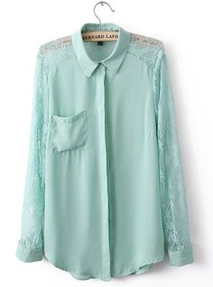 Light Green Lace Stching Shirts$38. Enjoy 25%OFF for the coming Mother's Day! http://www.udobuy.com/article.php?id=44