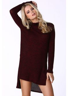 Lynne Mock Neck Sweater Dress in Burgundy | Necessary Clothing