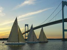 Newport Bridge, RI  Probably spent a fortune crossoing that bridge when I lived there!     #VisitRhodeIsland