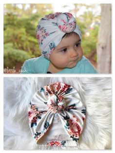 Turban with flowers ivory and pink - Salvabrani Baby Girl Hair Bows, Baby Bows, Diy Baby Headbands, Baby Turban, Baby Sewing Projects, Gaucho, Creations, Mini, Waiting