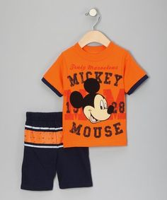 Orange & Navy 'Mickey Mouse' Tee & Shorts - Infant #zulily #zulilyfinds