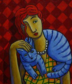 Cat, Cat love, Cat lover, Kitten, kitten lover, gato, gato lover,  New Dutch Colourful Fine Artworks made in the Netherlands by Dutch artist Jacques Tange - Volupt Art