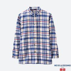 WOMEN IDLF Linen Cotton Madras Check Shirt Jacket