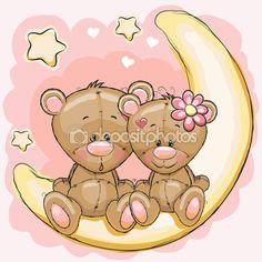 Два медведя на Луне — Векторная картинка #77800624