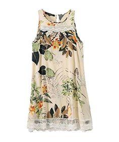 EFeeling Women's Rayon Lace Splice Floral Print Sleeveless Summer Casual Dress Medium Efeeling http://www.amazon.com/dp/B00ZD263Z6/ref=cm_sw_r_pi_dp_XVBKvb0ZE68B8