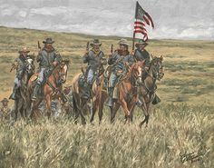 """Call for Attack"" - Calvary Original Oil x -western art John Petersons western and mountain man art - Western, Native American & Mountain Man Art by John Peterson kK Military Art, Military History, Military Veterans, Soldier Blue, American Indian Wars, History Classroom Decorations, American History Lessons, West Art, American Frontier"