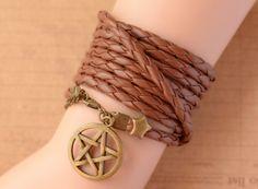 Supernatural Inspired bracelet,retro bronze pentagram retro bronze star Multilayer bracelet,SUPER COOL,brown leather bracelet