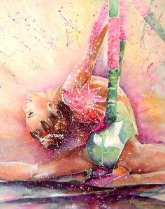 Gymnastics Sport Watercolour Painting
