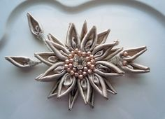 Bridal millinery pewter/crystal/satin/pearl flower for hair or sash.