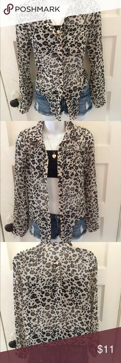 CHARLOTTE RUSSE leopard print Cardigan light weight collared button up Cardigan  Brand Charlotte Russe  size extra small Very light weight thin authentic breathable material  Drapes in the front and looks amazing buttoned up or left unbuttoned. Perfect for the early fall weather perfect for any occasion  No flaws new without tags comes from smoke free home  preppy professional business casual college school office sexy cute intimate Charlotte Russe Sweaters Cardigans
