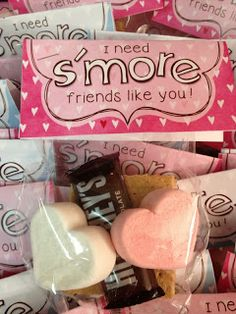 I need s'more friends like you~graham cracker, chocolate, and heart-shaped marshmallow peeps