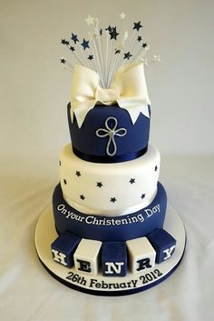Elegant christening cake for a boy