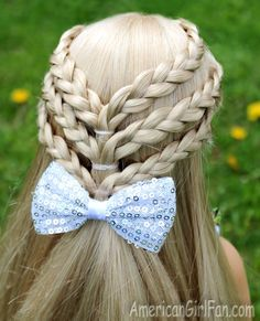 Triple Braided Half-Up Hairstyle for American Girl Dolls! (Click through for tutorial)