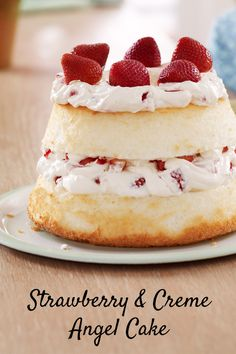 The perfect Mother's Day dessert: Fluffy angel food cake with layers of strawberry filling. #recipe #dessert