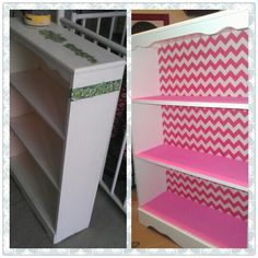 Re-do old bookshelf for kids room. Super cheap. Super easy! I used material for the back. Love it!