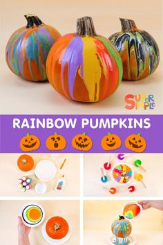 Halloween decor has never been easier – or more fun! Pumpkin painting is a great fall activity for kids of all ages since carving is not required. Autumn Activities For Kids, Easy Crafts For Kids, Toddler Crafts, Preschool Crafts, Toddler Activities, Halloween Projects, Diy Halloween Decorations, Halloween Pumpkins, Pumpkin Painting