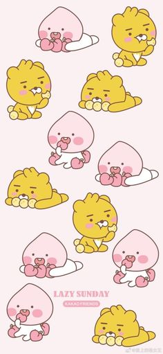Kawaii Wallpaper, Wallpaper Iphone Cute, Apeach Kakao, Kakao Friends, Kawaii Illustration, Locked Wallpaper, Screen Wallpaper, Wall Drawing, Cute Cartoon Wallpapers