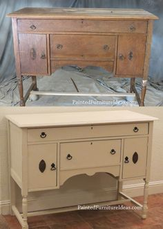 antique buffet refinished in almond