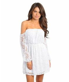NEW White Lace Off Shoulder Boho Sexy Dress Juniors S M L NWT Party Wedding