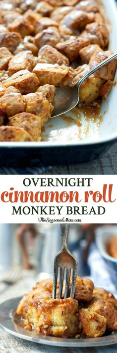 You only need 10 minutes to prepare this easy breakfast casserole: Overnight Cinnamon Roll Monkey Bread! The perfect holiday brunch or easy dessert!