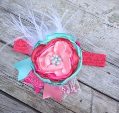 Watermelon hot pink mint & pale pink satin by LittleSparrowBows, $26.00 #littlesparrowbows