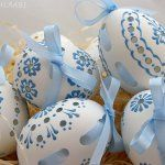 madeira easter eggs with ribbon