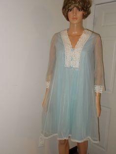 Vintage Peignoir Set Vanity Fair Sheer Chiffon Nylon Nightie Ice Blue White Lace