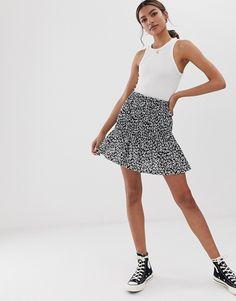 39695ebdc2 ASOS DESIGN | ASOS DESIGN shirred bask mini skirt in mono floral print  Denim Skirts,