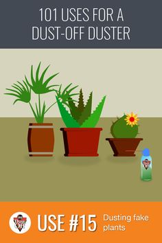 Use 15 of 101 for Dust-Off Dusters: Fake plants. We LOVE the convenience of not having to worry about watering the plants- but HATE when dust collects on the leaves. With a blast from a Dust-Off Duster, your artificial plants will look fresh and green all year round.