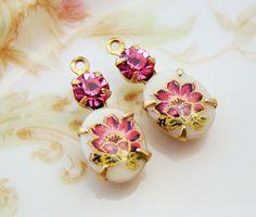 Vintage Dark Pink Flower Limoge & Rose Pink Rhinestone Charms by alyssabethsvintage