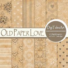 Old Paper Love Digital Paper Pack by DigiTalesArt.