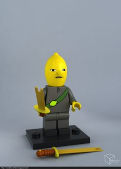 #adventure #time #lego #minifig LEGO Lemongrab minifig, Volatile Vertex on ArtStation at https://www.artstation.com/artwork/3qaVA