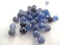 Vintage Blue Glass Bead Blueberry Round  7mm by BippityBooSupplies, $3.25