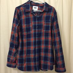 NWT Old Navy Flannel New with tags! Red, white, green, blue flannel. Buttons on sleeves so they can be rolled up. Buttons up the front. Perfect for fall/winter with a vest and jeans! Old Navy Tops