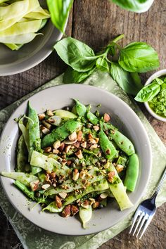 green beans w/ pesto, capers & almonds.