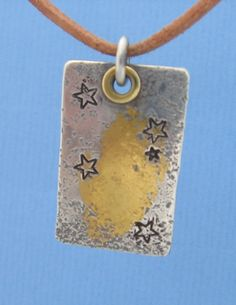 Southern Cross Constellation Sterling Silver Star Pendant with 24k Gold, Brass or 14K Solid Gold Rivet for Necklace Artisan Organic Texture via Etsy