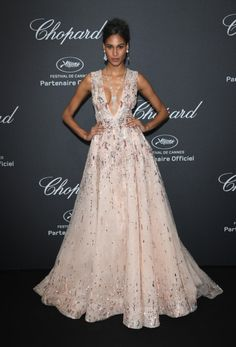 Cindy Bruna de Zuhair Murad en la fiesta de Chopard. Cannes 2016.