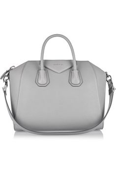 Gray textured-leather (Goat) Two top handles, shoulder strap Designer plaque, silver hardware Internal zipped and pouch pockets Fully lined in black canvas Zip fastening along top Comes with dust bag Designer color: Pearl Grey Weighs approximately 3.7lbs/ 1.7kg Made in Italy
