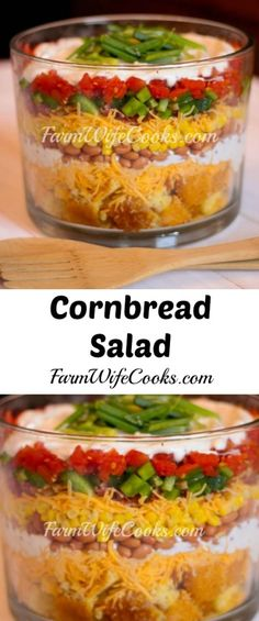 This Cornbread Salad is the perfect easy-to-follow layered salad recipe. Serve in a glass trifle bowl to show off the colorful layers. A simple and delicious recipe! #CornBread #Salad