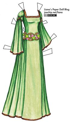 """""""Celtic Gown in Green and Gold with Clovers for St. Patrick's Day""""    [Liana's Paper Doll Blog]"""