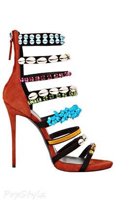 Giuseppe Zanotti Decorated Straps Italian Leather Dress Sandal