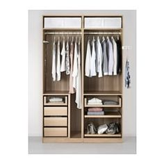 PAX Wardrobe, white stained oak effect, Ilseng white stained oak veneer - cm - soft closing device - IKEA Ikea Pax Wardrobe, Bedroom Wardrobe, Pax Closet, Ideas Armario, Wardrobe Organisation, Closet Layout, Fitted Wardrobes, Small Closets, Small Bedrooms