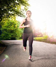 Woman running in park in Sweden