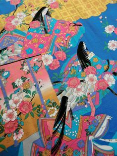 japanese cotton fabric kimono panel Japanese by japanmomijidesigns